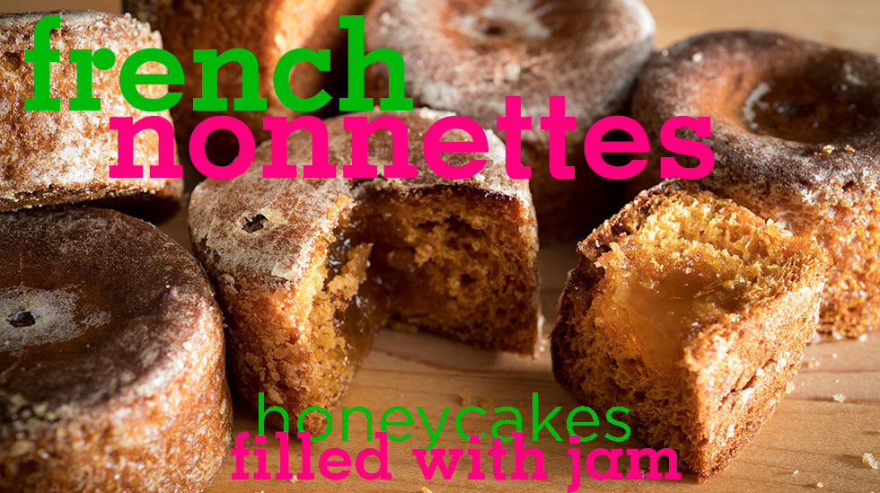 French Nonnettes Honey cakes filled with Jam