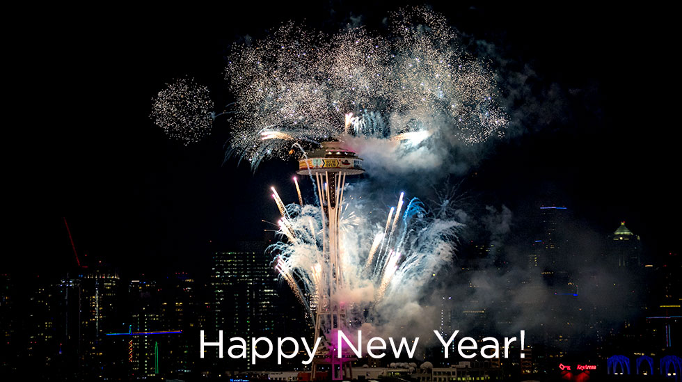 Happy New Year Space Needle Seattle Chef Shop