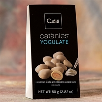 Catanies Caramelized Spanish Almonds Covered with Yogurt-Flavored White Chocolate