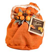 Flamigni Orange and Chocolate Panettone in Burlap - small