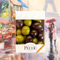 Pecou Olive-like Black & Green Chocolate Covered Praline
