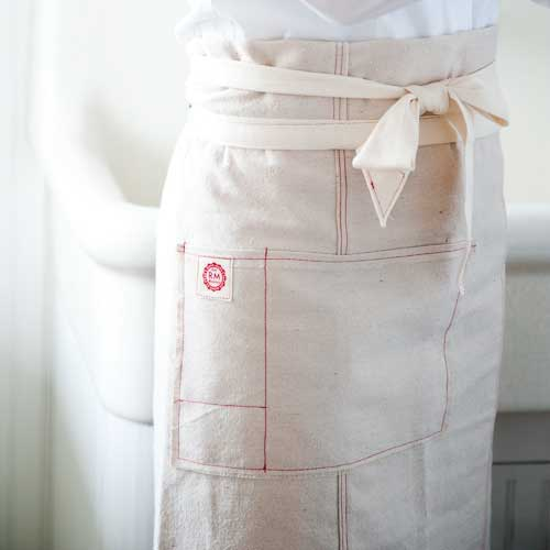 French Waiter's Apron Red Raw edge
