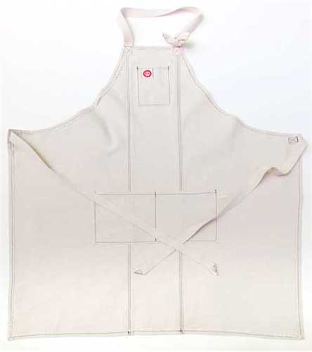 Classic Chefs Apron Navy Raw Edge
