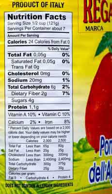 Nutrition Facts Rega Tomatoes