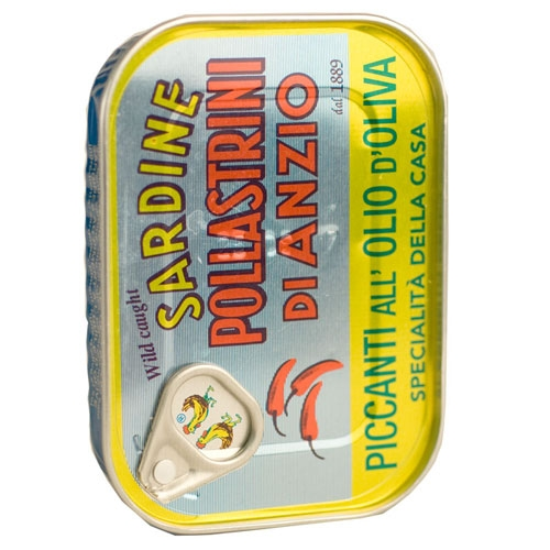 Pollastrini Sardines Piccanti (hot pepper & oil)