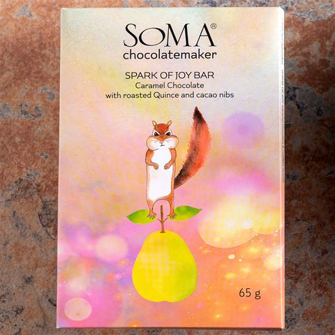 SOMA Spark of Joy Candied Roasted Pear Caramel Milk Chocolate Bar
