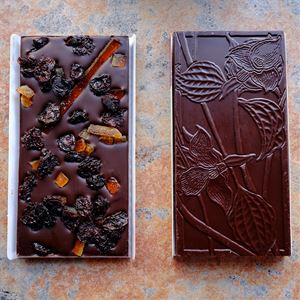 Wildwood Orange with Cherries 70-Percent Dark Chocolate Bar